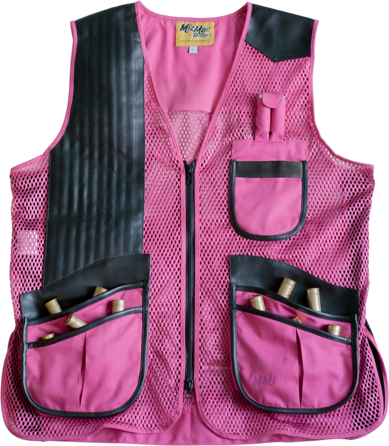 NEW 2015 MizMac Womens Perfect Fit Mesh Vest -- Hot Pink womens shooting vest, mesh vest, leather shooting vest, leatherette vest, adjustable vest