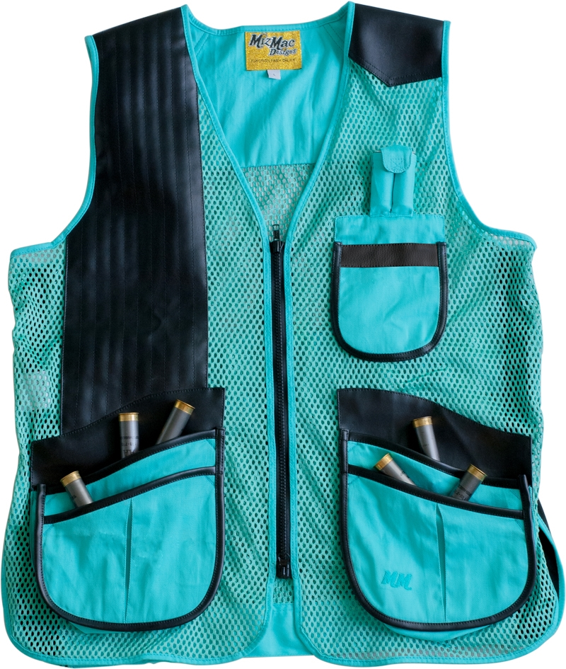 NEW 2015 MizMac Womens Perfect Fit Mesh Vest -- Turquoise womens shooting vest, mesh vest, leather shooting vest, leatherette vest, adjustable vest