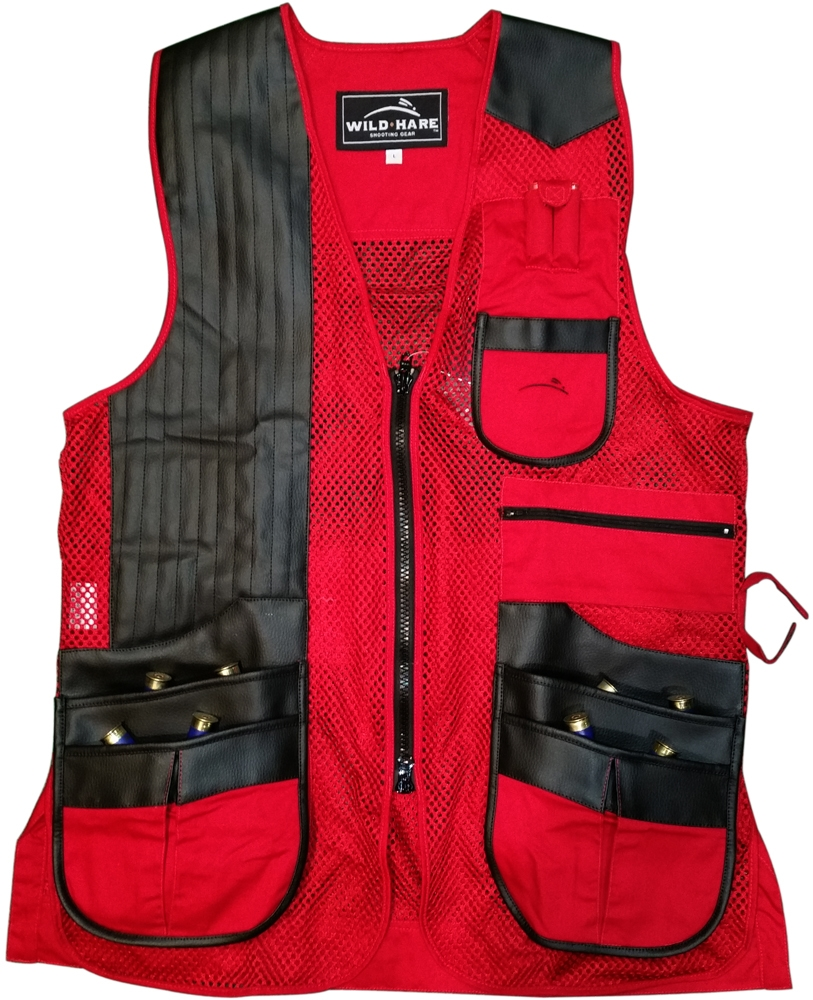 NEW Wild Hare Classy Clays Mesh Vest -- Red/Black mesh shooting vest, heatwave, trap, skeet, sporting clays vest, reactar pad