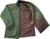 Wild Hare Cold Weather Coat -- Olive with Brown Distressed Leather - WH-480L-OV-RH-L