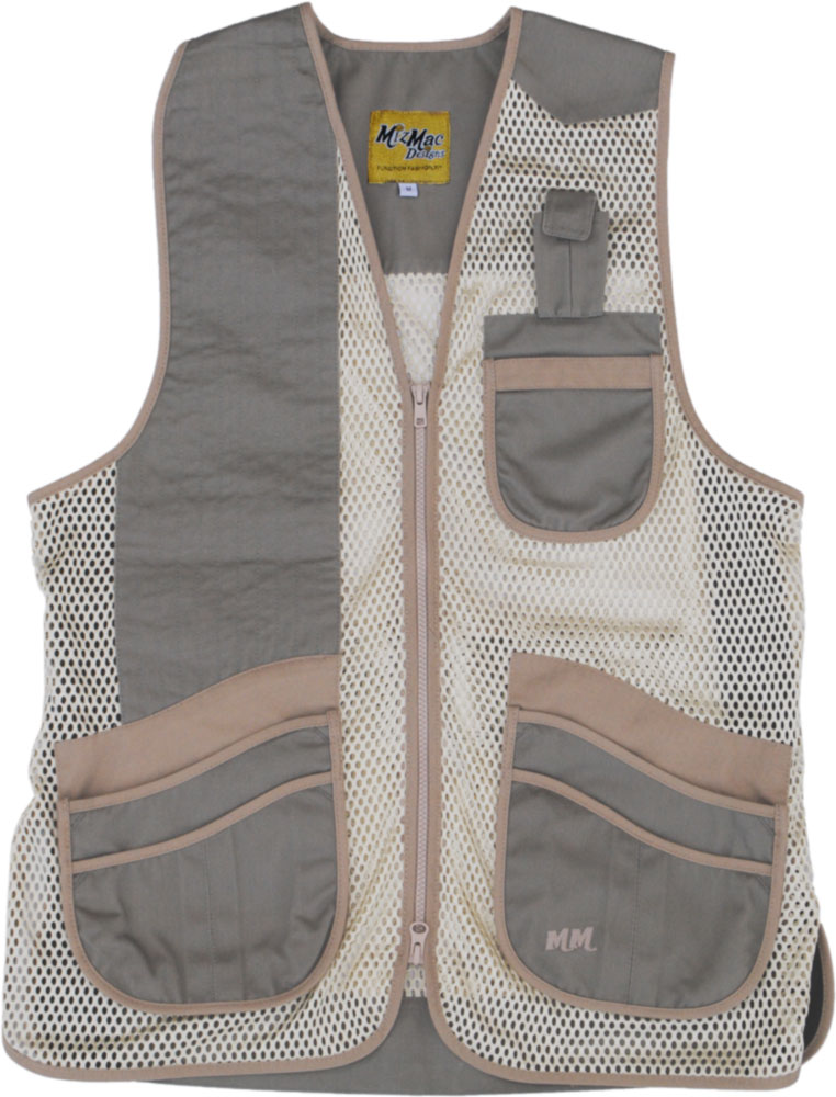 New! MizMac Womens Comfort Fit Mesh Vest - Sage and Khaki womens shooting vest, mesh vest, leather shooting vest, leatherette vest, adjustable vest