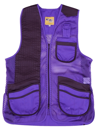 New! MizMac Womens Perfect Fit Mesh Vest - Genuine Leather Pad - Purple womens shooting vest, mesh vest, leather shooting vest, leatherette vest, adjustable vest