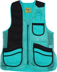 MizMac Womens Perfect Fit Mesh Vest - Genuine Leather Pad - Turquoise womens shooting vest, mesh vest, leather shooting vest, leatherette vest, adjustable vest