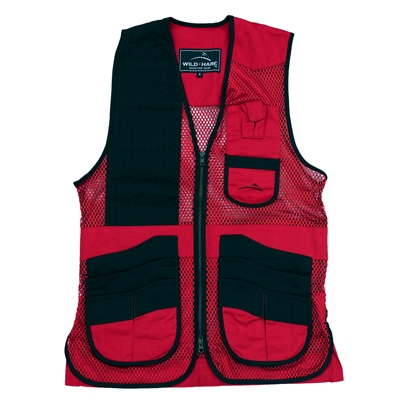 Wild Hare Heatwave Mesh Vest - Red and Black mesh shooting vest, heatwave, trap, skeet, sporting clays vest, shockeater, shooting vest, wild hare vest, clays shooting vest, trap vest, trap shooting vest, sporting clays vest