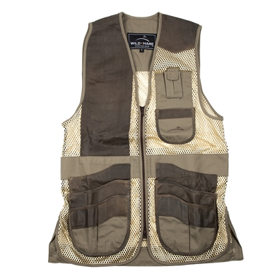 Wild Hare Range Vest Leather and Mesh  -- Sage and Brown mesh shooting vest, heatwave, trap, skeet, sporting clays vest, leather trap vest, leather shooting vest, wild hare vest, wild hare shooting gear